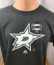 NEW Boys Youth Large NHL Dallas Stars Paddle Tee shirt Glow In The Dark Grey NWT