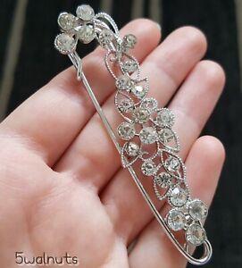 Large Silver Flower Leaf Safety Pin Scarf Shawl Fly Plaid Kilt Crystal Brooch UK