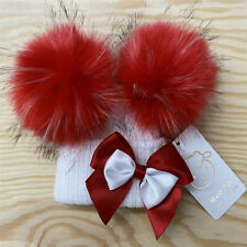 AW20 Gorgeous Baby Girls Red Faux Double Fur Pom Hat with Bow White Hat