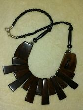 GORGEOUS BEADED NECKLACE FASHION JEWELRY TRIBAL ETHNIC BROWN BOHO STATEMENT NEW