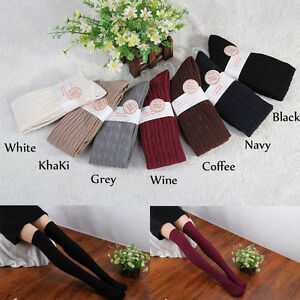 Ladies Girls Knit Thick Leg Warm Long over Knee High Hosiery Stocking Sock SOT02