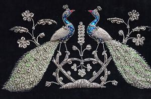 VINTAGE 1930s Black Velvet Embroidered Silver Peacock Zardozi Bag S