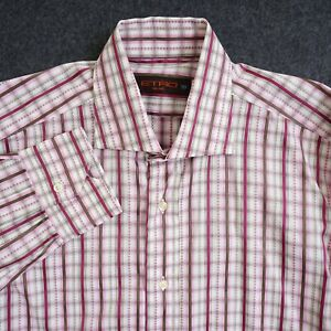 Etro Mens Dress Shirt Button Up Long Sleeve Pink White Striped Cotton 39 / 15.5