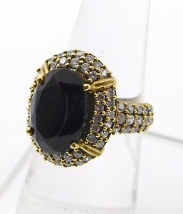 6.30 Gm 925 Solid Sterling Silver Natural Black Onyx Two Tone Ring Size 7 M-314