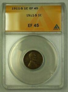 1911-S Lincoln Wheat Cent 1c ANACS EF-45 (C) (WW)