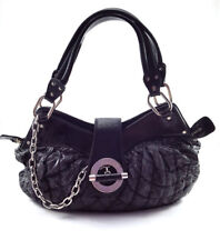 Bally Meg T Black Quilted Nylon and Patent Leather Women's shoulder Bag