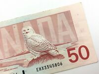 1988 Canada 50 Dollar Circulated EHX Replacement Banknote Thiessen Crow R866