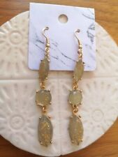 UK Seller Jade Green Colour With Gold Sparkle Tear Drop Earrings Cos Style