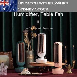 USB Fan Mini Desk Tower Cool Bladeless Mist Desktop Humidifier portable