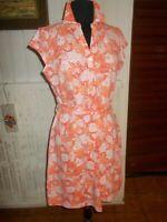Robe coton orange stretch à fleurs GANT L 42/44 petite manche logo brodé ceintur