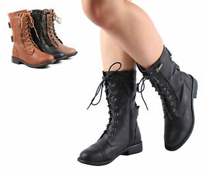 Black Color New Lace Up Zip Open Combat Military Women Mid Calf Boots Size 7