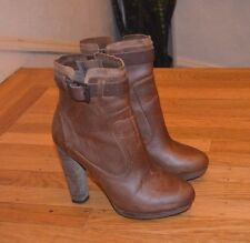 DIESEL 'Travis' Women's Brown Leather Heeled Ankle Boots (Sz 10 US; 40 EU)-$260