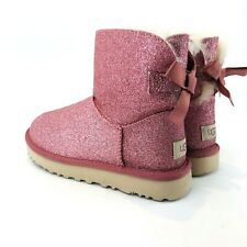 UGG Womens Size 6 Pink Mini Bailey Bow Glitter Sparkle Boot 1100053
