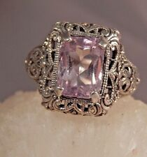 4.08 Ct. Emerald Cut Kunzite Ring Sterling Silver Strong Filigree Setting