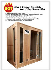 """New 4 Four Person 72"""" Canadian Hemlock Traditional Wet Dry Steam Sauna Spa Hot"""