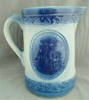 Antique Large Cobalt Blue Salt Glaze Stoneware Cows Pitcher- circa late 1800s