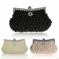 Women Luxury Pearl Handmade Evening Bag Diamond Clutch Bridal Party Handbags Hot