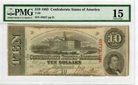 1863 T-59 $10 Confederate States America PMG CF-15 Richmond Civil War Note #2048