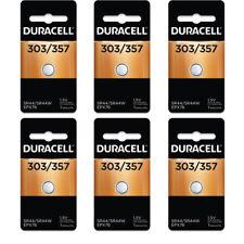 6 Pcs Duracell 357/303 LR44 A76 PX76 SR44W/SW AG13 Silver Oxide Battery