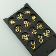 Nail Art Flower Snowflake Creative Hollow Out Frame Gold Metallic 3D Design Deco