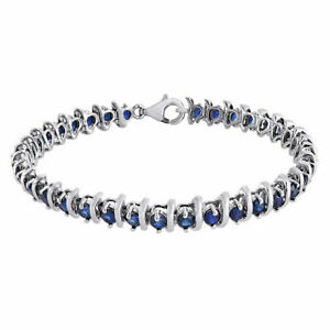 Sterling Silver Round Blue Sapphire Lab Created Gemstone S-Link Bracelet 6.48 Ct