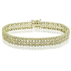 Gold Tone 2ct TDW Diamond Three Row Tennis Bracelet (J-K, I3)