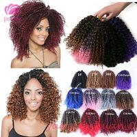 "8"" 3pcs Ombre Mali Bob Curly Hair Weave Crochet Braids Synthetic Hair Extensions"