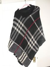 Women's/Ladies Tartan Polo Neck Knitted Check Poncho Shawl Sweater Jumper Cape