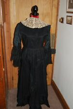 Vintage Edwardian Full Length Black with Lace Cuffs Evening Dress