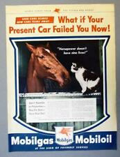 Original 1944 Mobil Ad HORSEPOWER DOESN'T HAVE 9 LIVES WHAT IF YOUR CAR FAILED