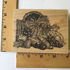 Impression Obsession Rubber Stamp - Fall Thanksgiving Cornucopia F2503 - NEW