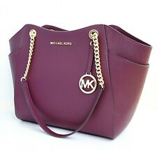 Michael Kors Bag Handbag Jet Set Travel Chain Tote Bag Saffiano Merlot New