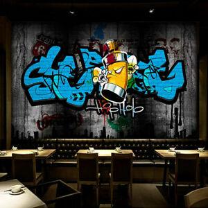 3D Street Art Graffiti Hip Hop Wall Mural Wallpaper Living Room Lounge Bedroom
