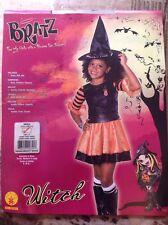 Child Witch Halloween Costume Sz Small 4-6 Orange Black Girl Dress Up Bratz