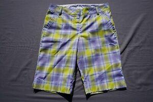 Puma Lightweight Casual Golf Long Shorts. Yellow Plaid, Women's Size 4. EUC!!