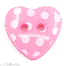 50 Polka Dot Heart Buttons - Scrapbooking - Crafting - Sewing - UK SELLER!!