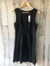 THEORY Tilifi Black Sleeveless Seamed Dress Linen Crunch A-Line 10 M