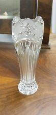 """Glass Crystal Vase Frosted Rose Flower Crystal Clear Industries 7"""" Tall Ribbed"""