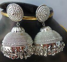 Silver Plated 3 cm Diameter Medium Jhumkas Indian Wedding Bollywood Earrings