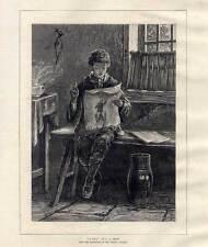 Zeitung-Zeitungsleser - Holzstich 1875
