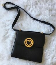 "Vintage Moschino Redwall Black Leather ""Gold Heart"" Strap Handbag-Made in Italy"