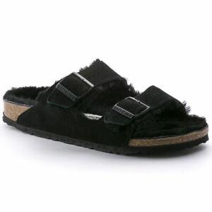 Birkenstock Arizona Fur Black Suede Unisex Sandal - 0752661 -  Choose Size