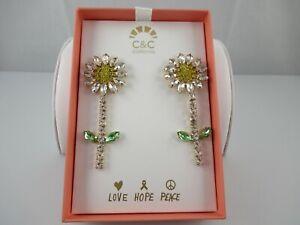 C&C California Rhinestone Daisy Flower Dangle Pierced Earrings