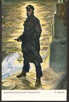WW1 GERMAN U-BOAT HERO CAPITAN «Otto Eduard Weddigen» LITHO ANTIQUE POSTCARD