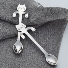 Stainless Steel Cat Coffee Drink Spoon Tableware Hanging Cups Teaspoon Gadget BV