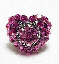 Pink Rhinestone Heart Ring Adjustable