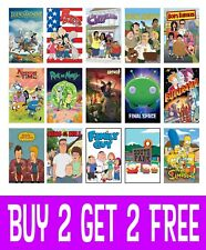Cartoon TV Shows Posters Wall Art Decor A4 A3 A2 Maxi Top Shows Best Comedy 2018