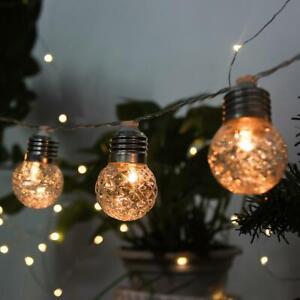10LED Solar Fairy String Lights Waterproof Outdoor Garden Ball Bulbs Lamps Decor