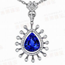 SOLID 18Kt WHITE GOLD NATURAL GORGEOUS BLUE TANZANITE DIAMOND WEDDING PENDANT