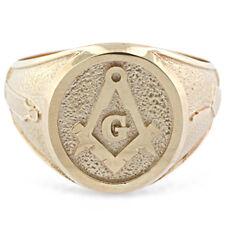 Mens Custom 18K Solid Gold  Masonic Master Mason Ring